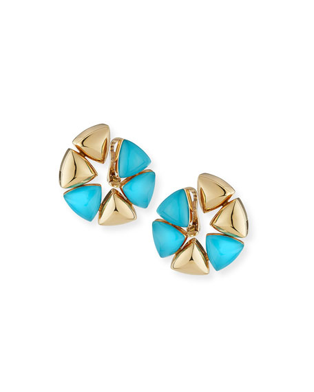 Freccia Medio 18k Pink Gold Rock Crystal Turquoise Earclips