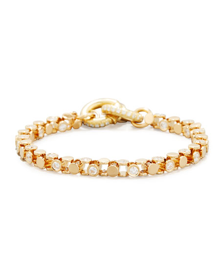 18K Yellow Gold Partial Diamond Watch Bracelet