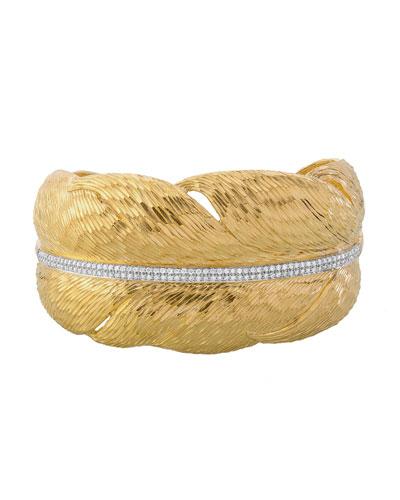 Diamond Feather Cuff Bracelet in 18K Gold