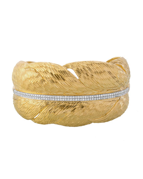 Michael Aram Diamond Feather Cuff Bracelet in 18K