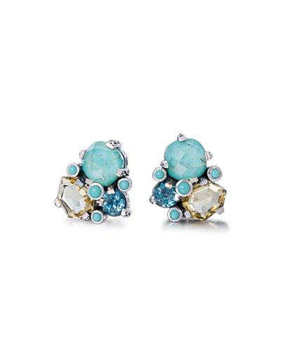 Rutilated Quartz & Turquoise Cluster Earrings