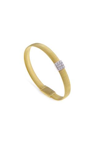 Marco Bicego Masai 18K Gold Single-Strand Bracelet with Diamond Square