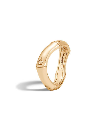 Bamboo 18K Gold Curved Band Ring, Size 7