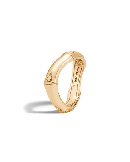 Bamboo 18K Gold Curved Band Ring, Size 6