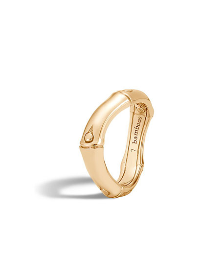 Bamboo 18K Gold Curved Band Ring, Size 8