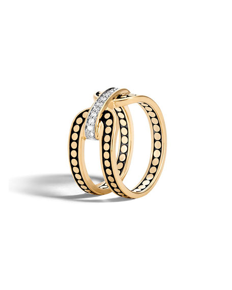 Dot 18K Gold Band Ring with Diamonds, Size 6