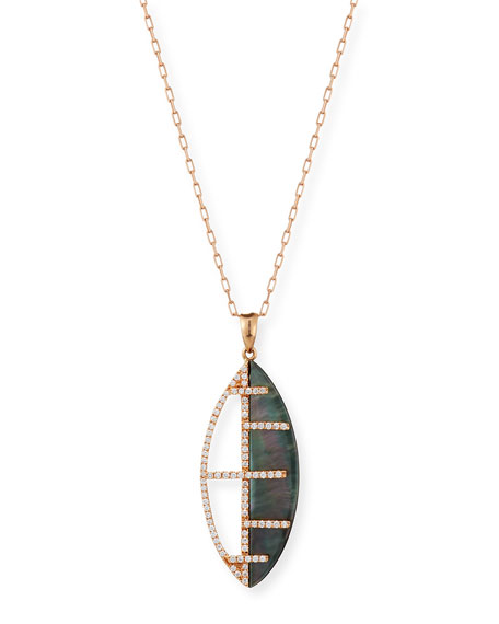 Black Mother-of-Pearl Pendant Necklace with Diamonds in 18K Rose Gold