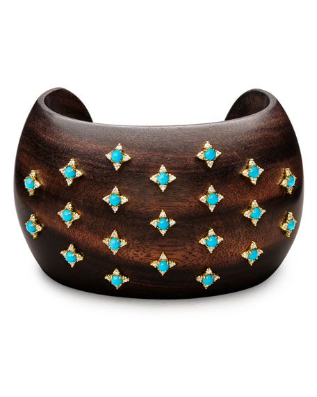 Sprinkled Turquoise & Diamond Ebony Cuff Bracelet