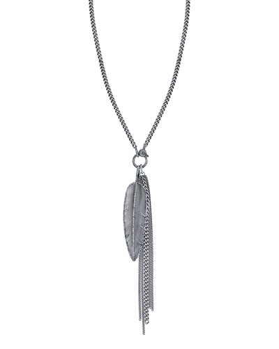 Feather Fringe Pendant Necklace with Diamonds, 46