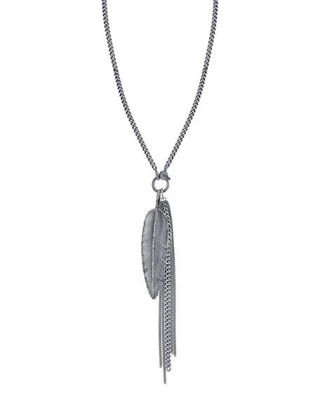 "Feather Fringe Pendant Necklace with Diamonds, 46"""