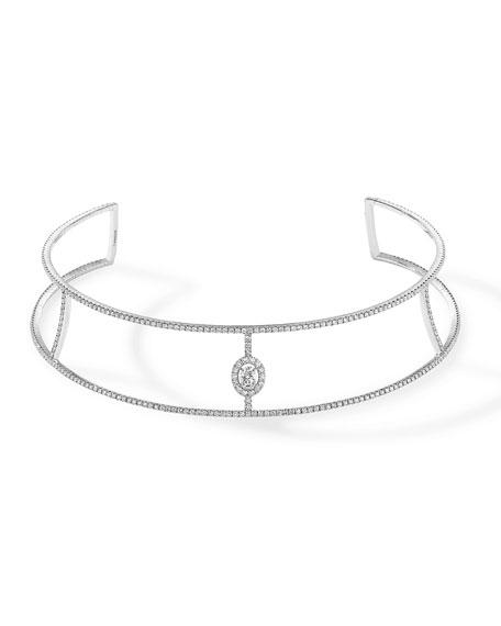Glam'Azone Split Diamond Collar Necklace in 18K White Gold