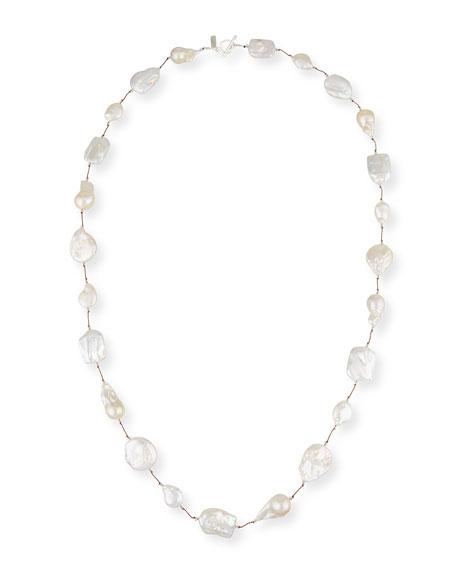 "Margo Morrison Keshi Pearl & Crystal Station Necklace, 35"""
