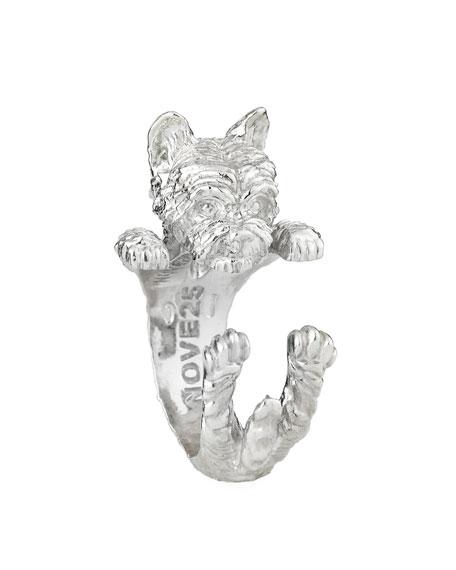 Yorkie Silver Dog Hug Ring, Size 6