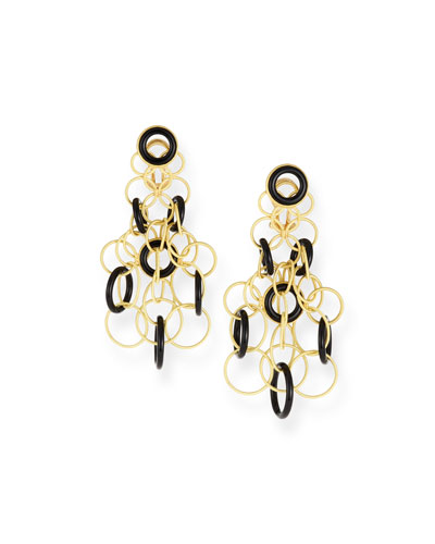 Hawaii Onyx Circle Earrings in 18K Gold