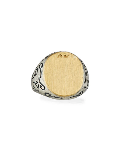 Ara Silver & 18K Yellow Gold Signet Ring, Size 10