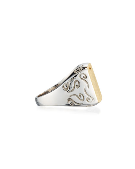 Two-Tone Silver & 18K Gold Ring, Size 10