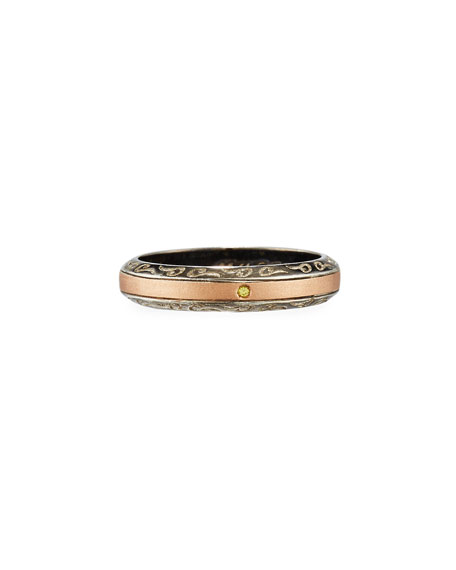 Ara 18K Rose Gold & Burnished Silver Band Ring, Size 10