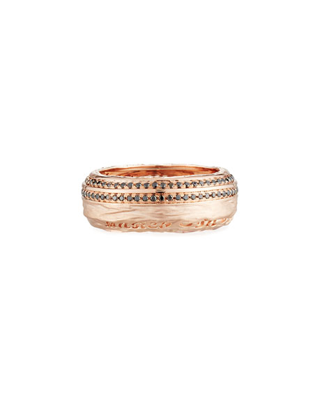 The Other Half 18K Rose Gold Pave Diamond Ring, Size 10