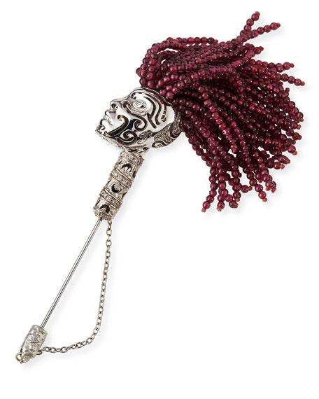 Askari Beaded Garnet Lapel Pin