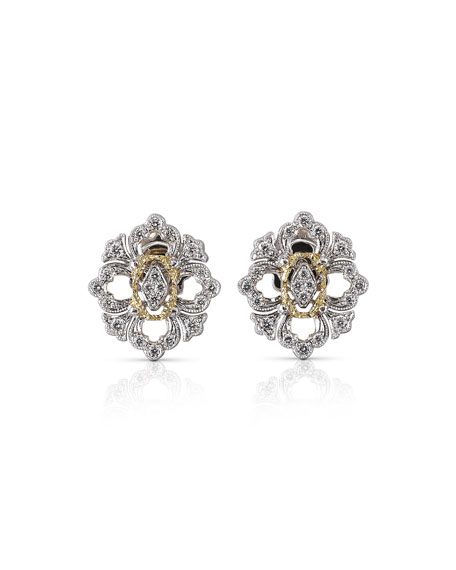 Buccellati Opera 18k Pave Diamond Button Earrings
