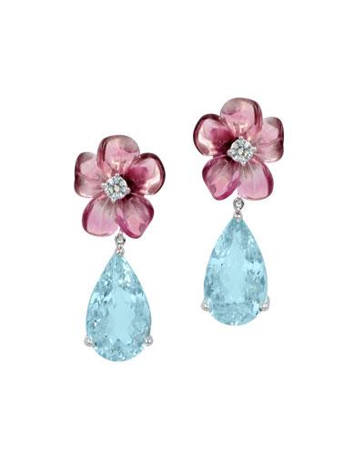 Pink Tourmaline & Aquamarine Teardrop Earrings with Diamonds