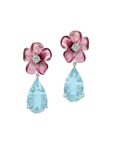 Rina Limor Pink Tourmaline & Aquamarine Teardrop Earrings