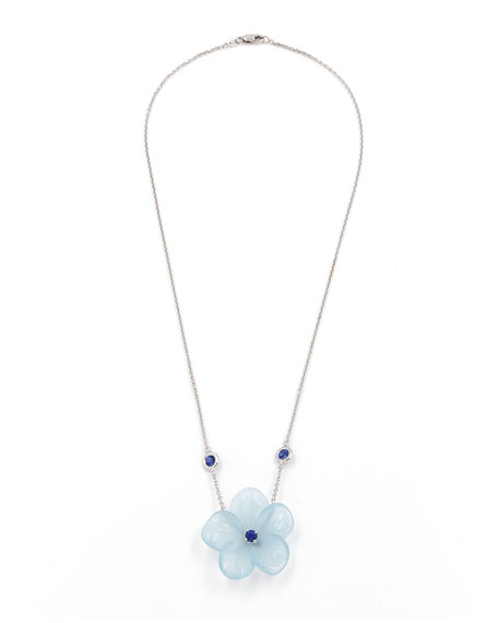 Rina Limor Hand-Carved Aquamarine Flower Necklace with Sapphires