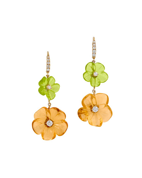 Rina Limor Hand-Carved Citrine & Peridot Flower Earrings