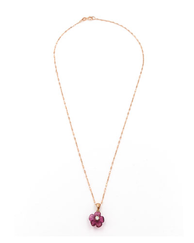 Hand-Carved Pink Tourmaline & Diamond Flower Pendant Necklace