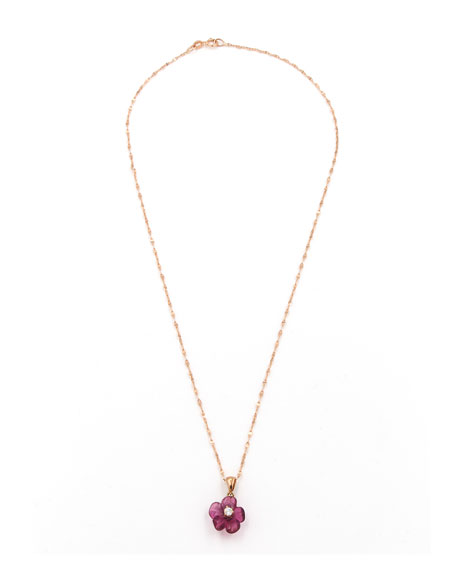 Rina Limor Hand-Carved Pink Tourmaline & Diamond Flower