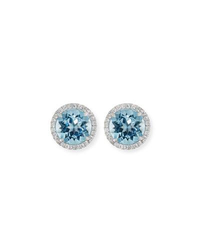 18K White Gold Blue Topaz Diamond Halo Stud Earrings