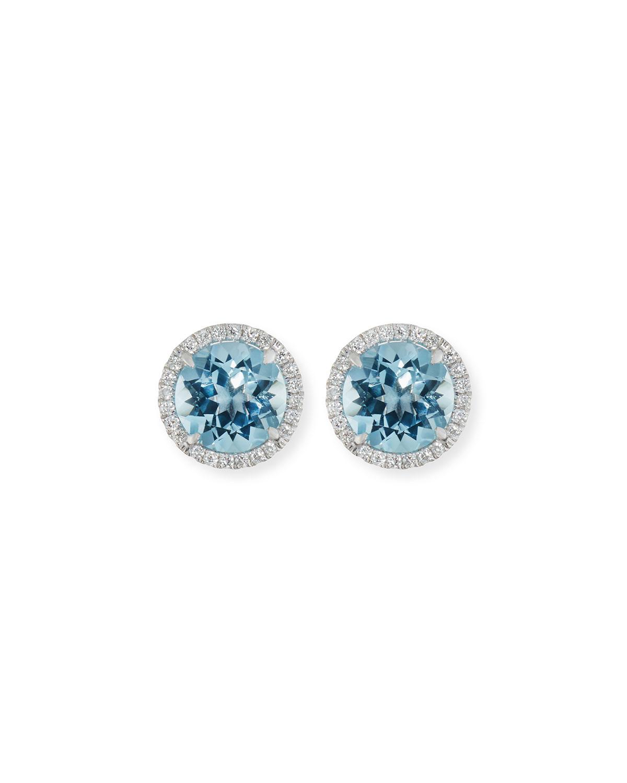 Frederic Sage 18k White Gold Blue Topaz Diamond Halo Stud Earrings