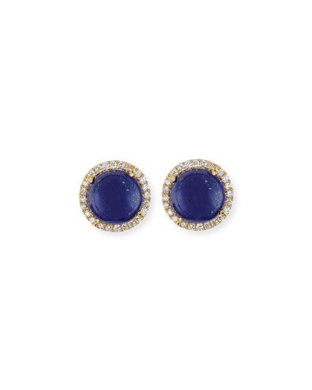 Frederic Sage Cabo 18K Gold Lapis Cabochon & Diamond Halo Stud Earrings