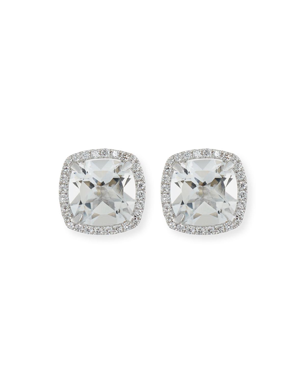 Frederic Sage 18k White Gold White Topaz Diamond Halo Stud Earrings