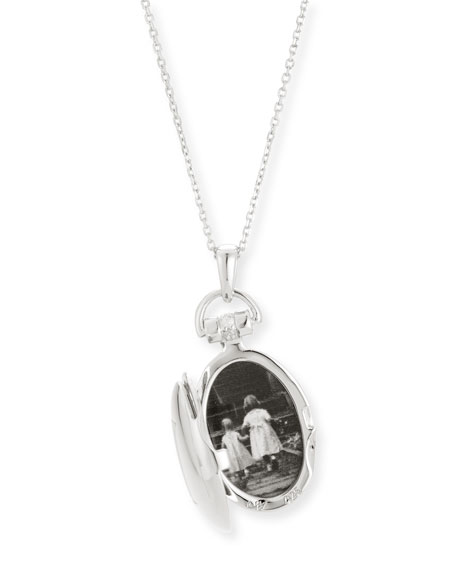 """Petite Sterling Silver Initial """"B"""" Locket Necklace"""