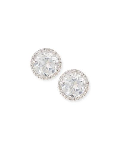 White Topaz & Diamond Stud Earrings