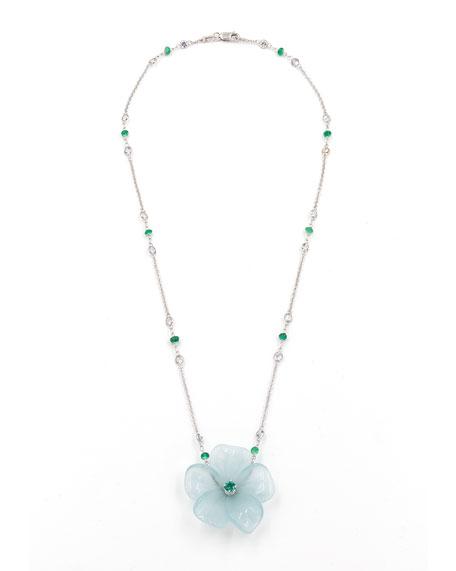 Rina Limor Hand-Carved Aquamarine Flower Necklace