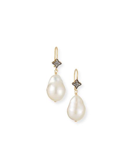 Margo Morrison White Baroque Pearl & White Sapphire Earrings