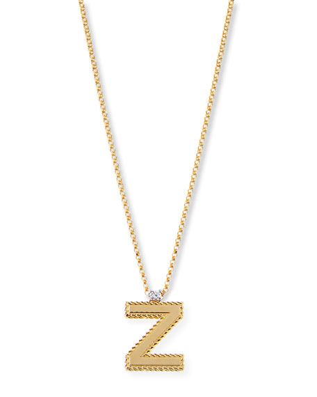 Princess 18K Yellow Gold Diamond Initial Necklace, Z