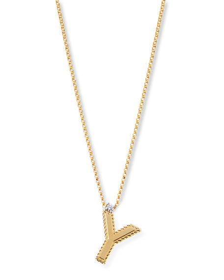 Princess 18K Yellow Gold Diamond Initial Necklace, Y