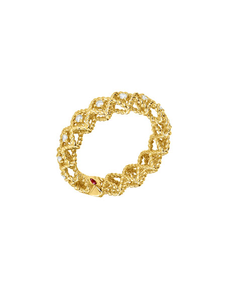 Barocco Single-Row Diamond Ring in 18K Yellow Gold, Size 6
