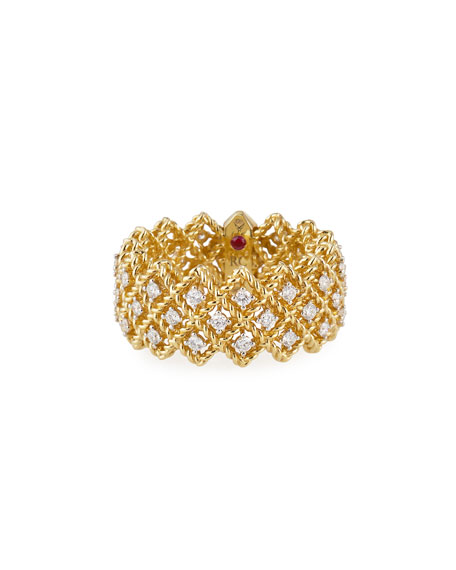 Roberto Coin Barocco Three-Row Ring with Diamonds in 18K Yellow Gold, Size 6.5