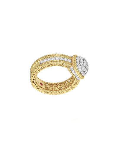 New Barocco Dome Diamond Ring in 18K Yellow Gold, Size 6.5
