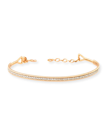 White Diamond Bar Bracelet in 14K Rose Gold