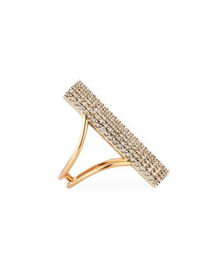 Pavé Diamond Rectangle Ring in 14K Rose Gold