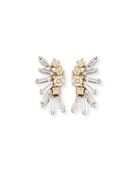 Round & Baguette Diamonds Cluster Earrings