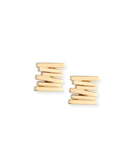 Zigzag Bar Earrings in 18K Gold