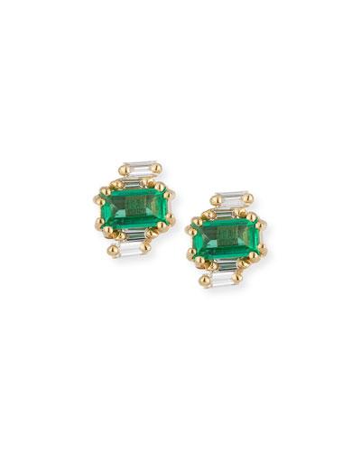 Emerald & Diamond Baguette Earrings