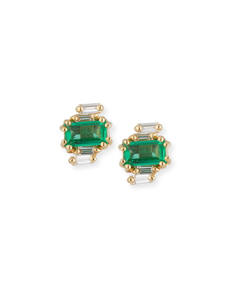 Emerald & Diamond Baguette Earrings