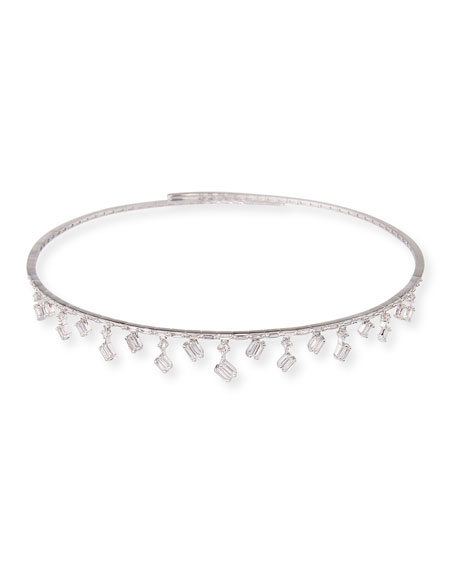 Dangling Baguette Diamond Choker Necklace in 18K White Gold